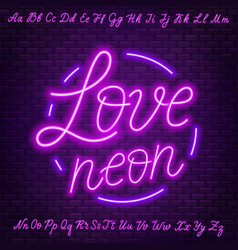 Pink neon script uppercase and lowercase letters vector
