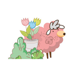 pink sheep farm with garden and flowers vector image