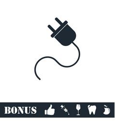 Power cord icon flat vector