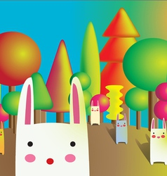 Rabbit and colorful tree vector