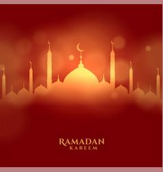 Ramadan kareem islamic festival card with glowing vector