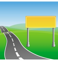 road sign and green landscape vector image