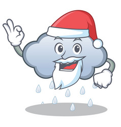 santa rain cloud character cartoon vector image