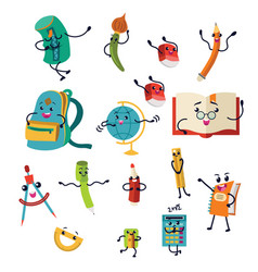 school supplies characters set icons education vector image