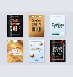 set christmas sale banners design discounts vector image