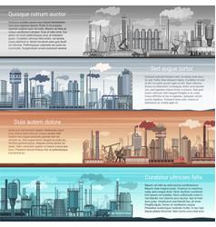 set industrial factory banners landscape vector image