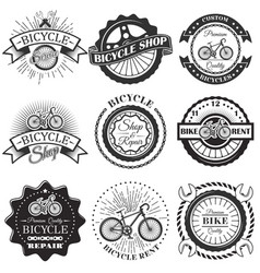 set of bicycle repair shop labels and vector image