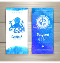 Set of blue watercolor seafood banners vector