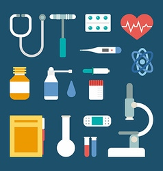 Set of flat style medical icons and objects vector