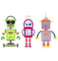 Set of funny cartoon robots art vector