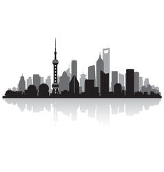 Shanghai China city skyline silhouette vector