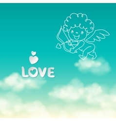 shooting from bow cupid and word love on the vector image
