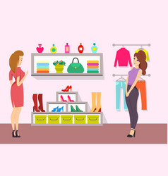 Shopping women in accessories boutique vector