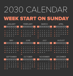 simple 2030 year calendar vector image vector image