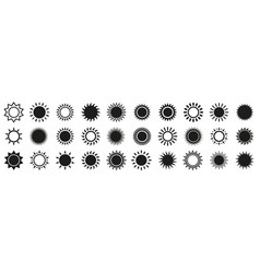 sun and sunburst icons isolated set on white vector image