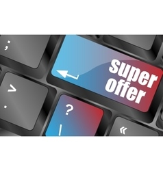 Super offer text on laptop computer keyboard keys vector