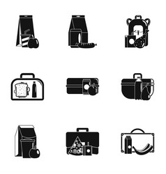 takeaway food icons set simple style vector image