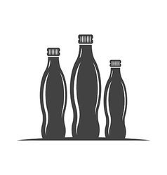Three bottles with screw cap Black icon logo vector