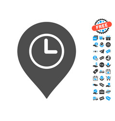 Time marker icon with free bonus vector