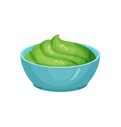 Traditional mexican guacamole in blue ceramic dip vector