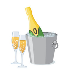 two champagne glass and bottle of champagne in ice vector image
