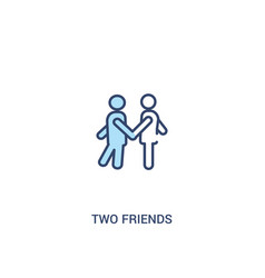 Two friends concept 2 colored icon simple line vector