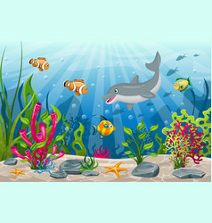 underwater landscape with dolphin and fish vector image