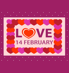 Valentine day postcard 14 february sticker vector
