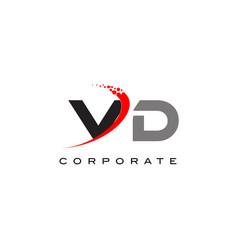 vd modern letter logo design with swoosh vector image