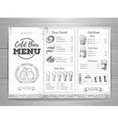 Vintage beer menu design vector image