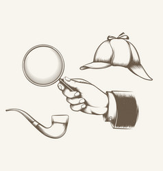 vintage detective elements vector image