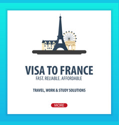 visa to france travel to france document for vector image