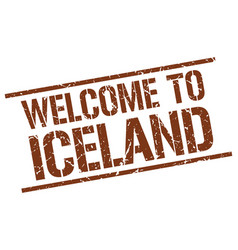 Welcome to iceland stamp vector