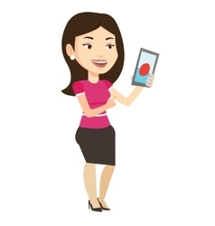 Woman playing action game on smartphone vector