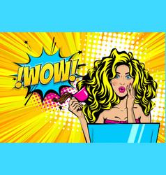 wow face woman pop art sale advertise vector image
