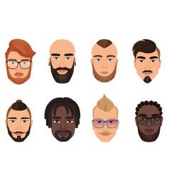 cartoon hipsters bearded men guys avatars with vector image