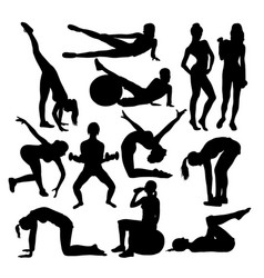 exercises woman activity silhouettes vector image vector image