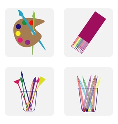 icon set with brush easel pencil vector image