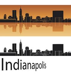 Indianapolis skyline in orange background vector image vector image
