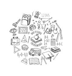 School tools sketch in a circle design vector image