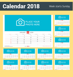 wall monthly calendar for 2018 year set of 12 vector image