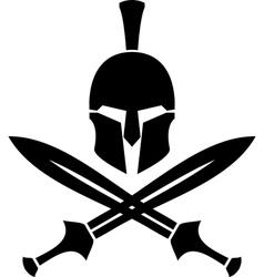 ancient hellenic helmet and swords stencil vector image vector image