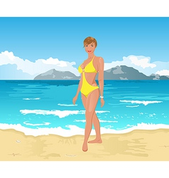 beach girl summer background vector image vector image
