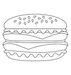 black and white burger hamburger cheeseburger icon vector image vector image