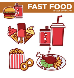 fast food collection of sweet and salty vector image vector image