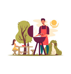 man preparing barbecue on grill vector image vector image