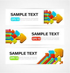 Set of three banners with 3d arrows vector
