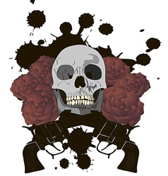 Skull With Crossed Guns and Roses vector image