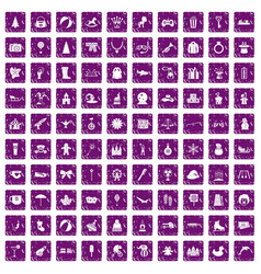 100 children icons set grunge purple vector image vector image