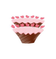 drawing cake pastry sweet hearts vector image